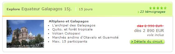 Circuit Explore Equateur Galapagos 21 jours