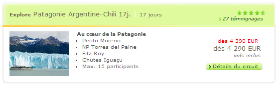 Circuit Explore Patagonie Artgentine-Chili 17 jours