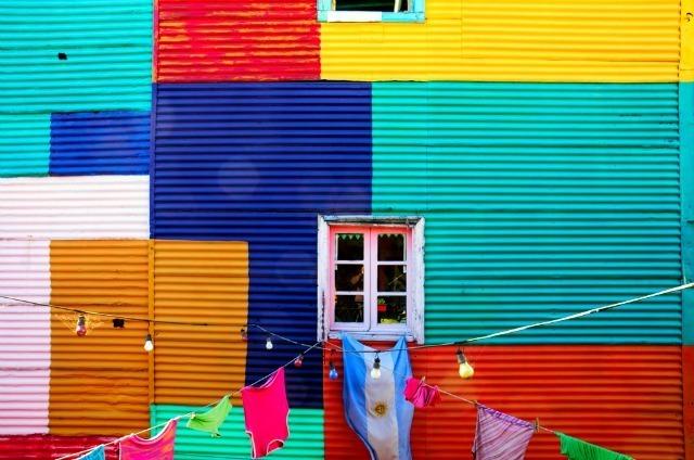 Les devantures des maisons dans la Boca